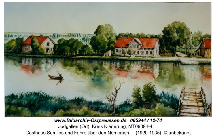 Grünhausen, Gasthaus Semlies und Fähre über den Nemonien in Farbe