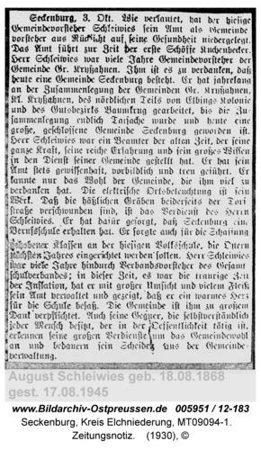 Seckenburg, Zeitungsnotiz
