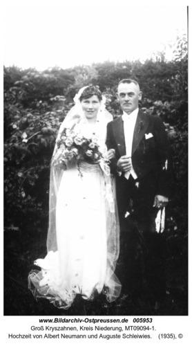 Groß Kryszahnen, Hochzeit von Albert Neumann und Auguste Schleiwies