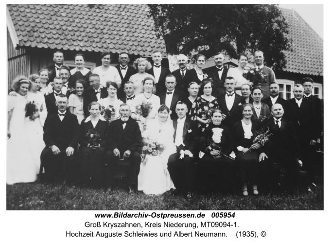 Groß Kryszahnen,  Hochzeit Auguste Schleiwies und Albert Neumann