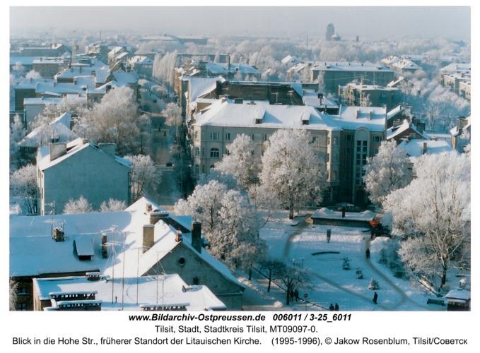 Tilsit, Blick in die Hohe Str., früherer Standort der Litauischen Kirche