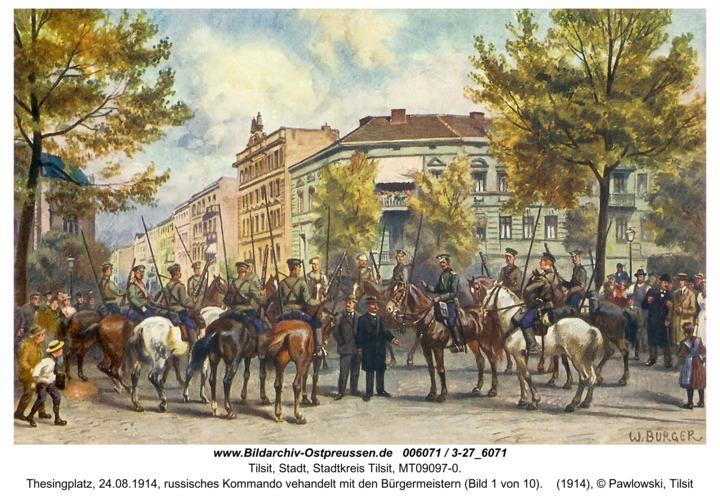 Tilsit, Thesingplatz, 24.08.1914, russisches Kommando vehandelt mit den Bürgermeistern (Bild 1 von 10)