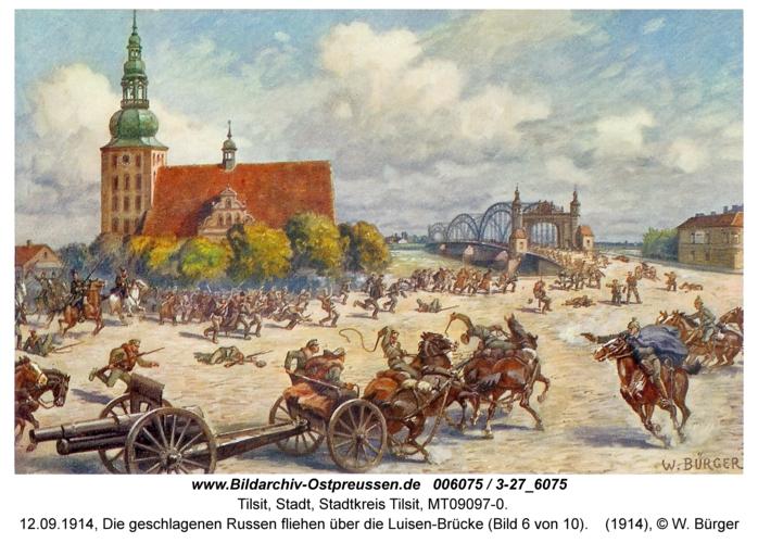 Tilsit, 12.09.1914, Die geschlagenen Russen fliehen über die Luisen-Brücke (Bild 6 von 10)