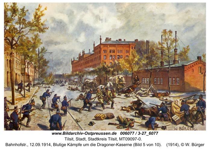 Tilsit, Bahnhofstr., 12.09.1914, Blutige Kämpfe um die Dragoner-Kaserne (Bild 5 von 10)