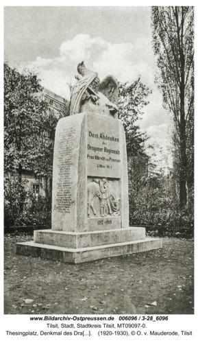 Tilsit, Thesingplatz, Denkmal des Dragoner-Regiments Prinz Albrecht v. Preußen Nr. 1
