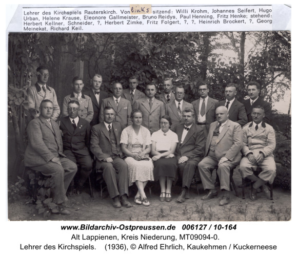 Rauterskirch,  Lehrer des Kirchspiels