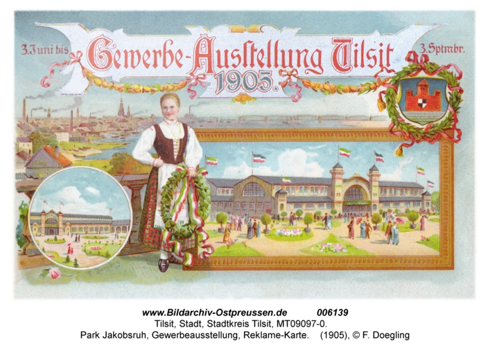 Tilsit, Park Jakobsruh, Gewerbeausstellung, Reklame-Karte