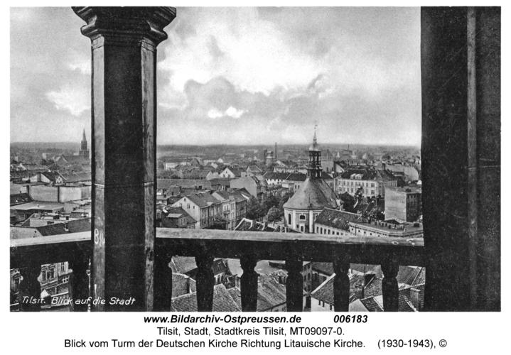 Tilsit, Blick vom Turm der Deutschen Kirche Richtung Litauische Kirche