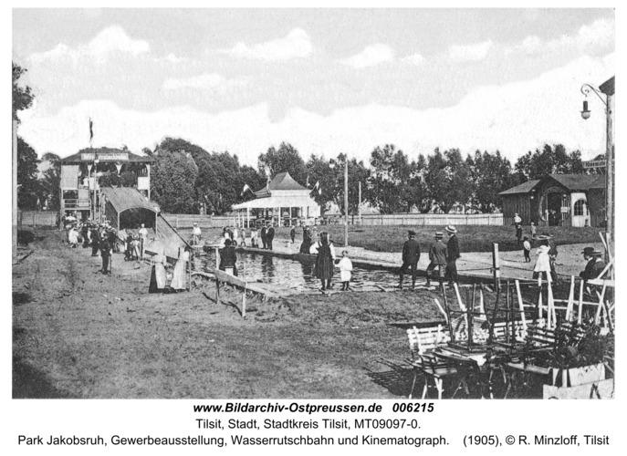 Tilsit, Park Jakobsruh, Gewerbeausstellung, Wasserrutschbahn und Kinematograph