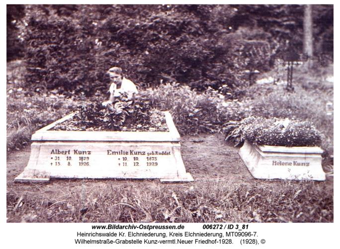 Heinrichswalde, Wilhelmstraße-Grabstelle Kunz-vermtl. Neuer Friedhof-1928