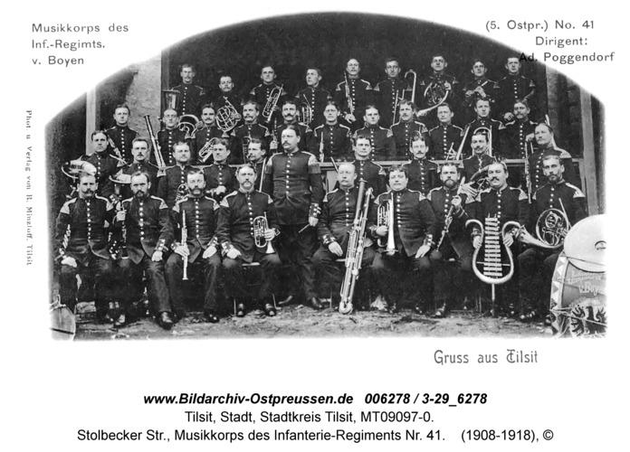 Tilsit, Stolbecker Str., Musikkorps des Infanterie-Regiments Nr. 41