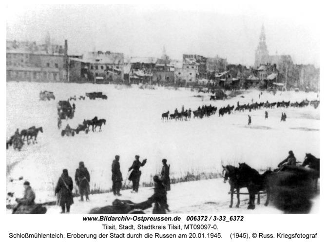 Tilsit, Schloßmühlenteich, Eroberung der Stadt durch die Russen am 20.01.1945