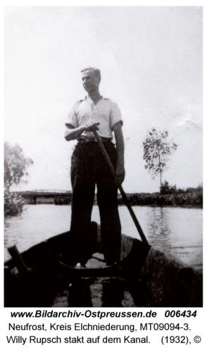 Neufrost, Willy Rupsch stakt auf dem Kanal