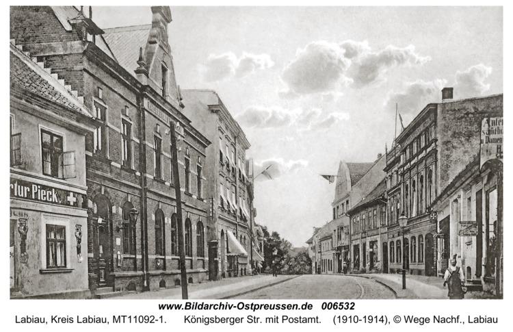 Labiau, Königsberger Str. mit Postamt