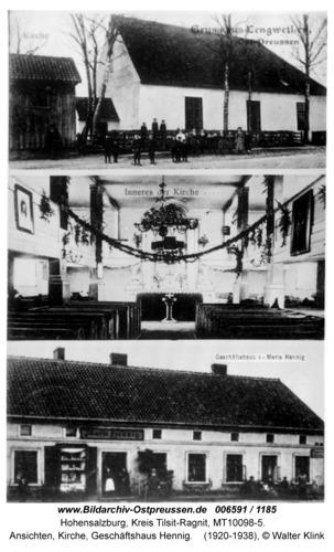 Hohensalzburg, Ansichten, Kirche, Geschäftshaus Hennig