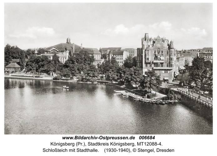 Königsberg, Schloßteich mit Stadthalle