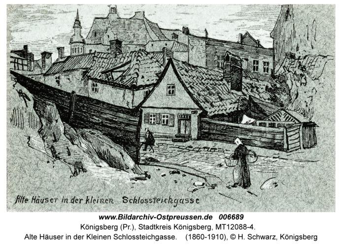 Königsberg, Alte Häuser in der Kleinen Schlossteichgasse