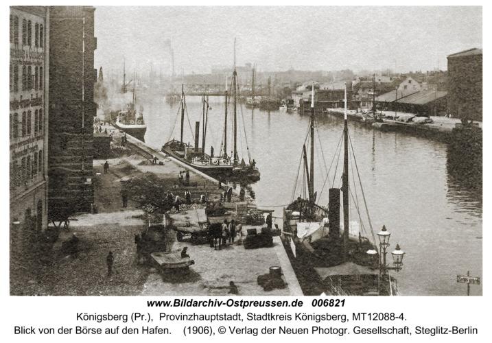 Königsberg, Blick von der Börse auf den Hafen