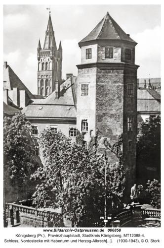 Königsberg, Schloß, Nordostecke mit Haberturm und Herzog-Albrecht-Denkmal