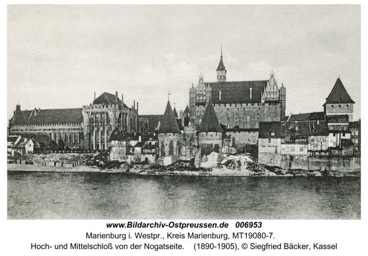 Marienburg, Hoch- und Mittelschloss von der Nogatseite