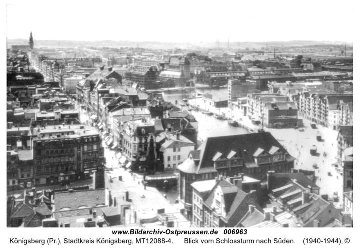 Königsberg, Blick vom Schlossturm nach Süden