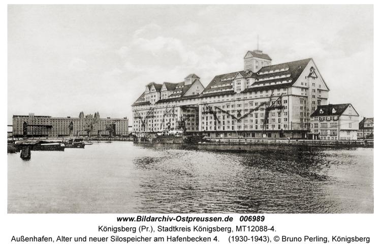 Königsberg, Außenhafen, Alter und neuer Silospeicher am Hafenbecken 4