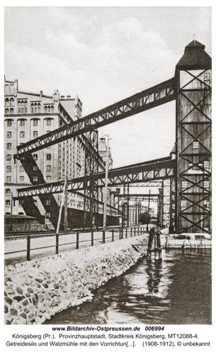 Königsberg, Getreidesilo und Walzmühle mit den Vorrichtungen zum Entladen des Getreides
