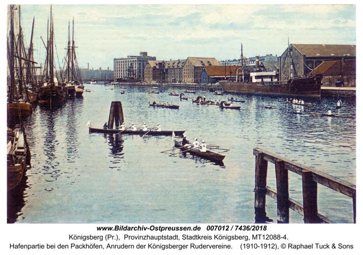 Königsberg, Hafenpartie bei den Packhöfen, Anrudern der Königsberger Rudervereine