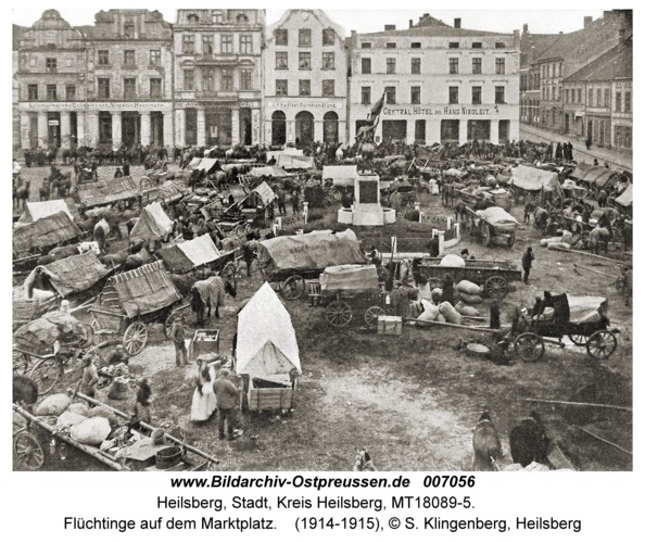 Heilsberg, Flüchtinge auf dem Marktplatz