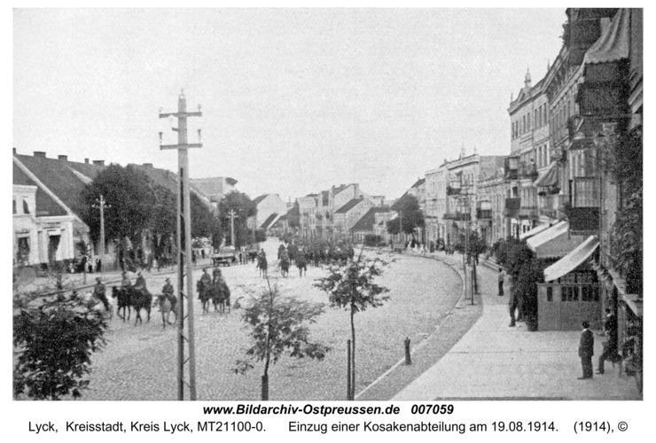 Lyck, Einzug einer Kosakenabteilung am 19.08.1914