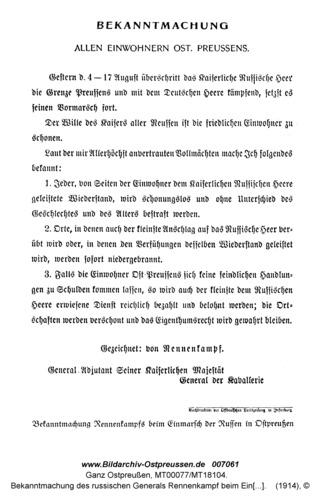 Bekanntmachung des russischen Generals Rennenkampf beim Einmarsch der Russen in Ostpreußen