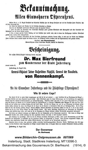 Insterburg, Bekanntmachung des Gouverneurs Dr. Bierfreund