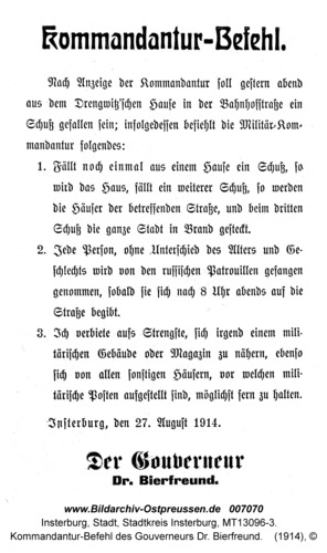 Insterburg, Kommandantur-Befehl des Gouverneurs Dr. Bierfreund