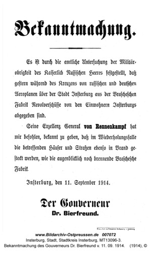 Insterburg, Bekanntmachung des Gouverneurs Dr. Bierfreund v. 11. 09. 1914