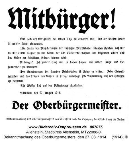 Allenstein, Bekanntmachung des Oberbürgermeisters, den 27. 08. 1914