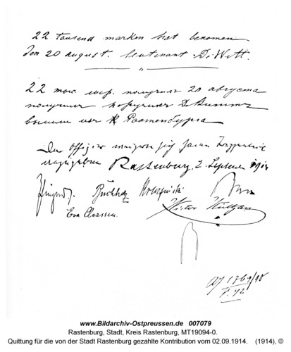 Rastenburg, Quittung für die von der Stadt Rastenburg gezahlte Kontribution vom 02.09.1914