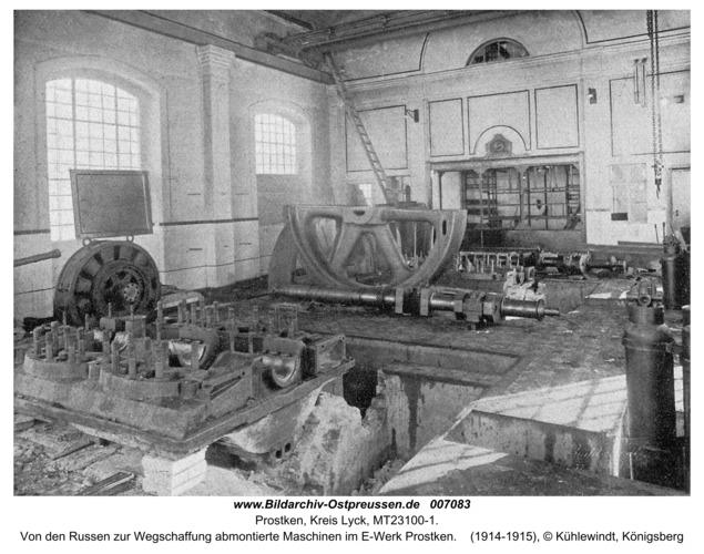 Prostken, Von den Russen zur Wegschaffung abmontierte Maschinen im E-Werk Prostken