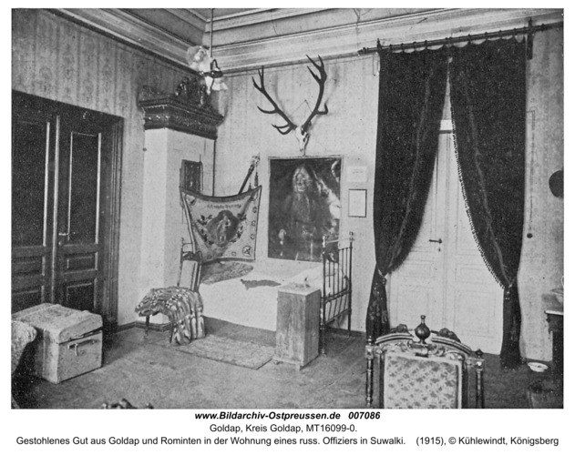 Goldap, Gestohlenes Gut aus Goldap und Rominten in der Wohnung eines russ. Offiziers in Suwalki