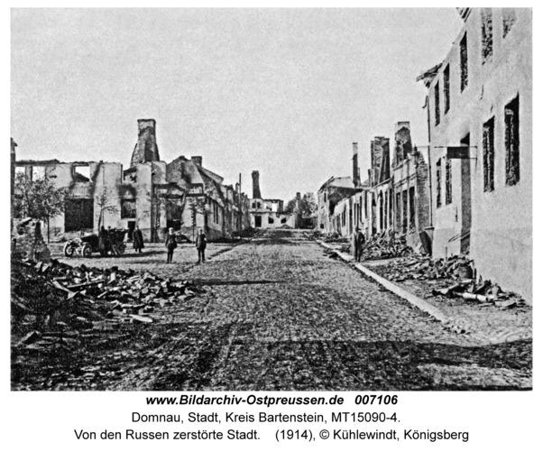 Domnau, Von den Russen zerstörte Stadt