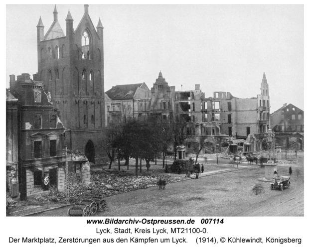 Lyck, Der Marktplatz, Zerstörungen aus den Kämpfen um Lyck