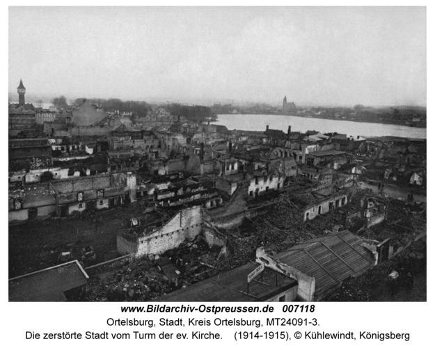 Ortelsburg, Die zerstörte Stadt vom Turm der ev. Kirche
