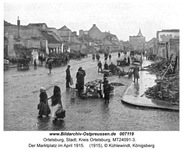 Ortelsburg, Der Marktplatz im April 1915