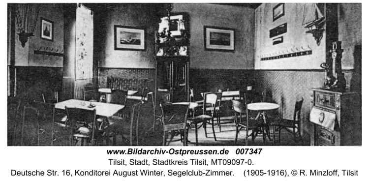 Tilsit, Deutsche Str. 16, Konditorei August Winter, Segelclub-Zimmer