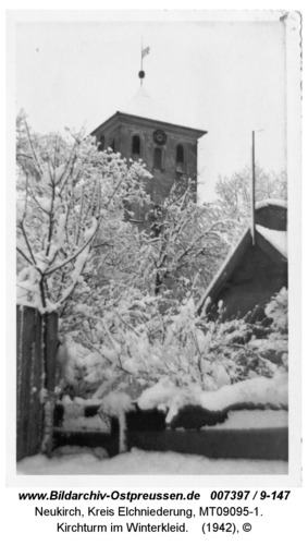 Neukirch 250, Kirchturm im Winterkleid