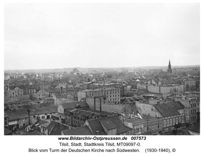 Tilsit, Blick vom Turm der Deutschen Kirche nach Südwesten