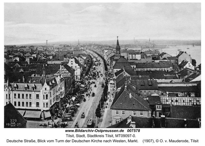 Tilsit, Deutsche Straße, Blick vom Turm der Deutschen Kirche nach Westen, Markt