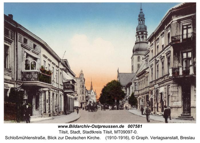 Tilsit, Schloßmühlenstraße, Blick zur Deutschen Kirche