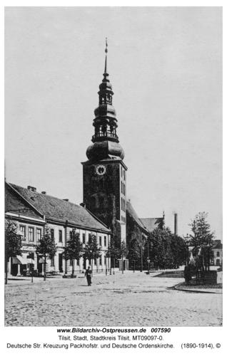 Tilsit, Deutsche Str. Kreuzung Packhofstr. und Deutsche Ordenskirche