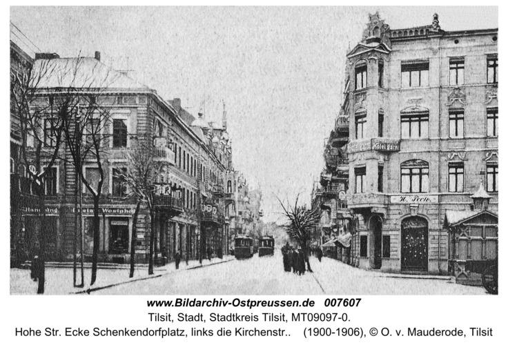 Tilsit, Hohe Str. Ecke Schenkendorfplatz, links die Kirchenstr.