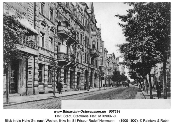 Tilsit, Blick in die Hohe Str. nach Westen, links Nr. 81 Friseur Rudolf Herrmann